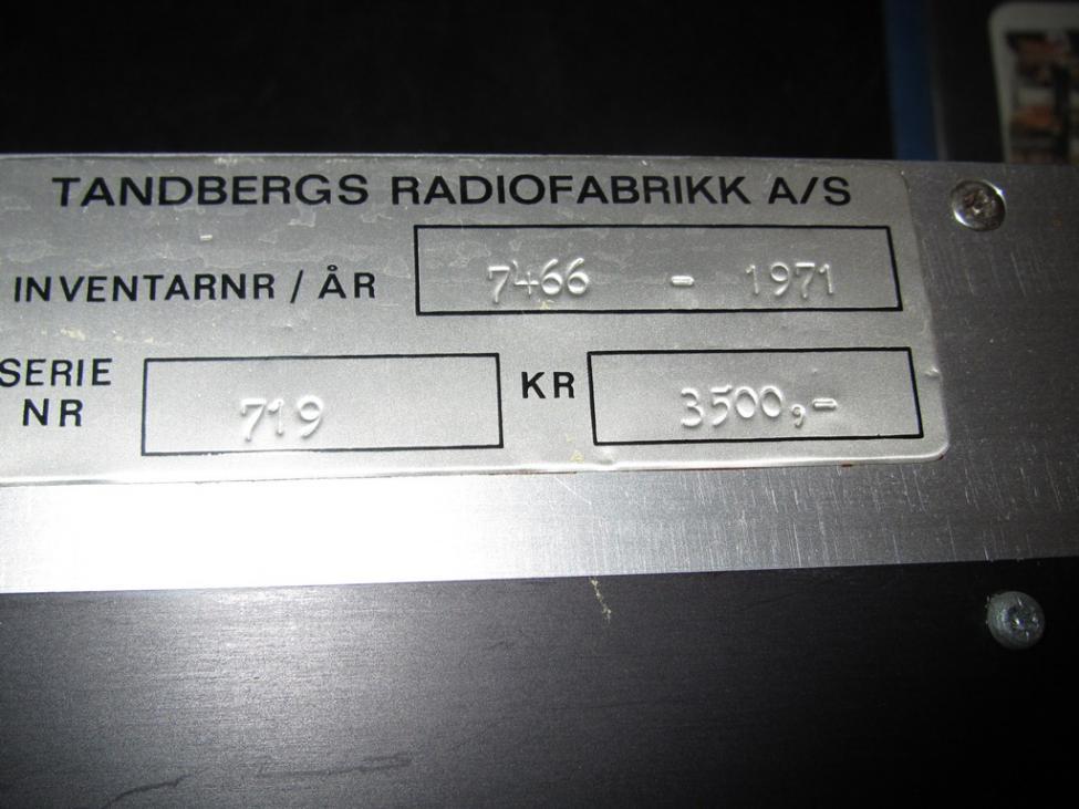 Navn:      Inventarskilt Tandberg.jpg Visninger: 2089 Størrelse: 76.5 Kb